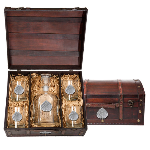 Aspen Leaf Capitol Decanter Chest Set