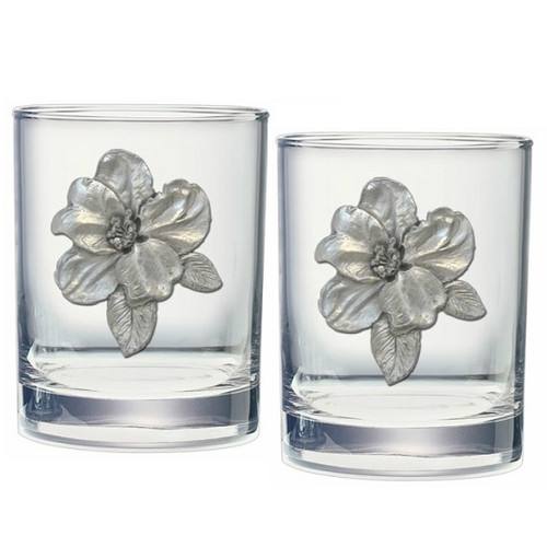 Apple Blossom Double Old Fashioned Glass Set of 2