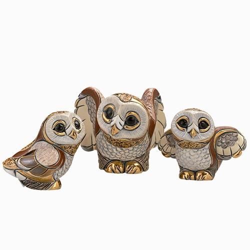 Barn Owl Family Ceramic Figurine Set | Rinconada