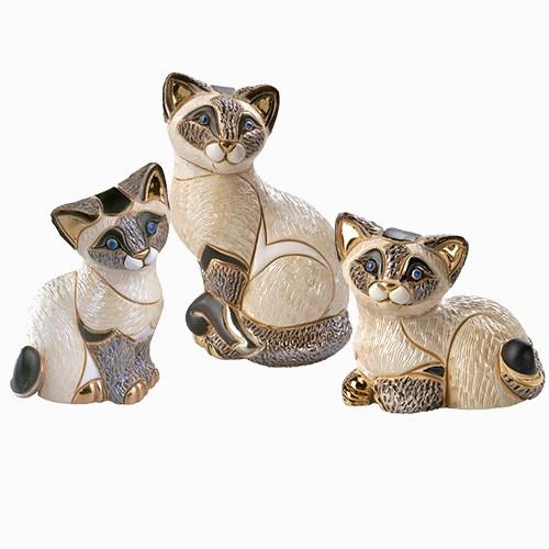 Siamese Cat Family Ceramic Figurine Set | Rinconada
