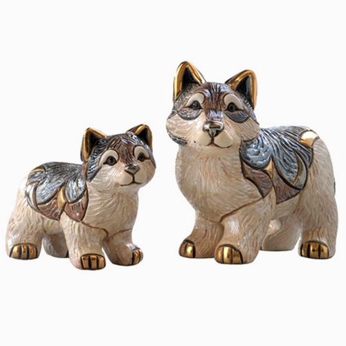Wolf and Baby Ceramic Figurine Set   Rinconada