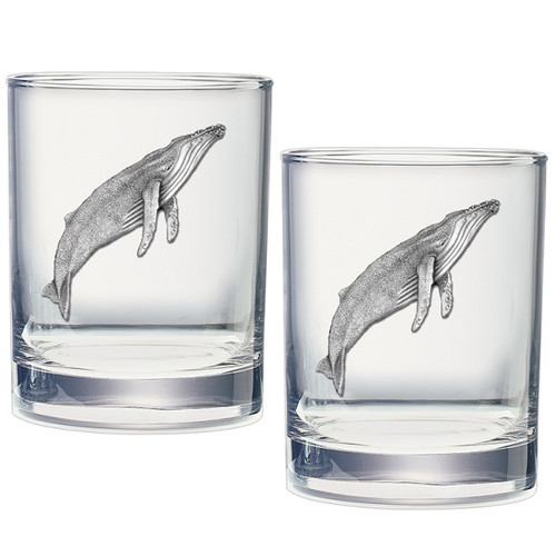 Humpback Whale Double Old Fashioned Glass Set of 2
