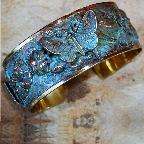 Butterfly on Roses Verdigris Brass Cuff Bracelet | Nature Jewelry
