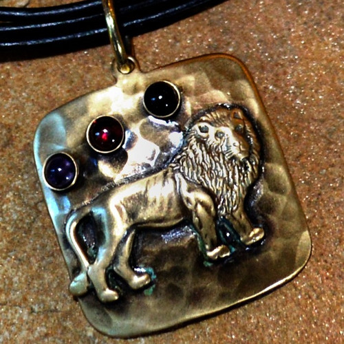 Lion Antiqued Hammered Brass Pendant   Nature Jewelry