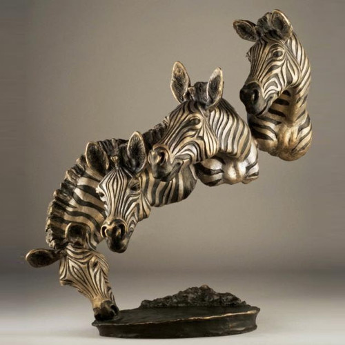 "Zebra Bronze Sculpture ""Bank of the Mara"""