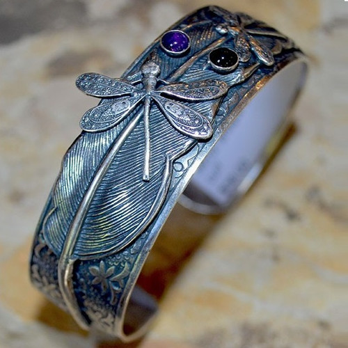 Dragonflies on Feather Cuff Bracelet   Nature Jewelry