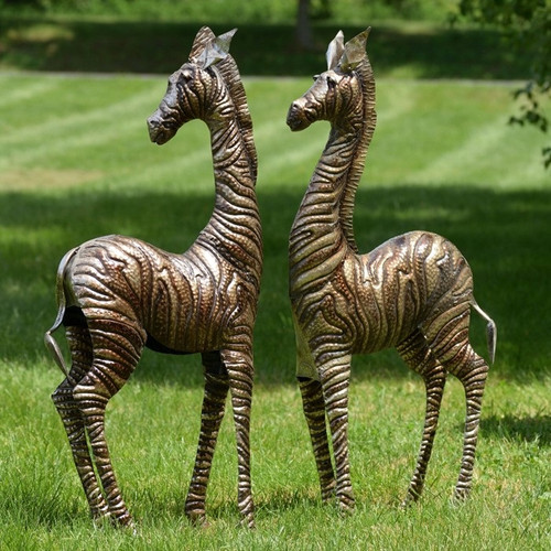 Zebra Metal Outdoor Statues Set of 2