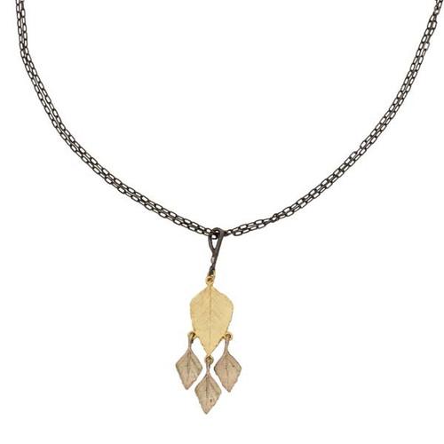 Autumn Birch Four Leaf Pendant Necklace | Nature Jewelry