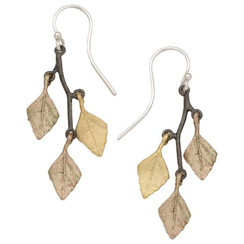 Autumn Birch 3 Leaf Wire Earrings | Nature Jewelry