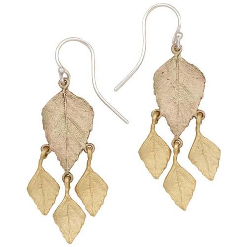 Autumn Birch 4 Leaf Dangle Wire Earrings | Nature Jewelry