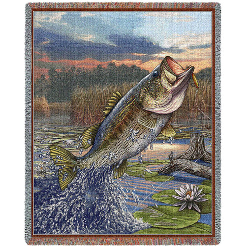 "Largemouth Bass Tapestry Throw Blanket "" First Strike"""