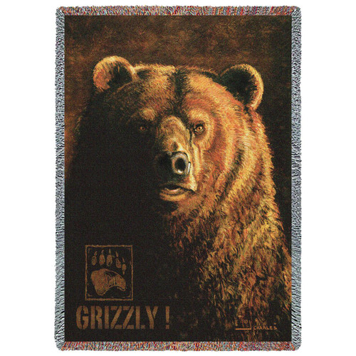 "Grizzly Bear Tapestry Throw Blanket ""Shadow Beast"""