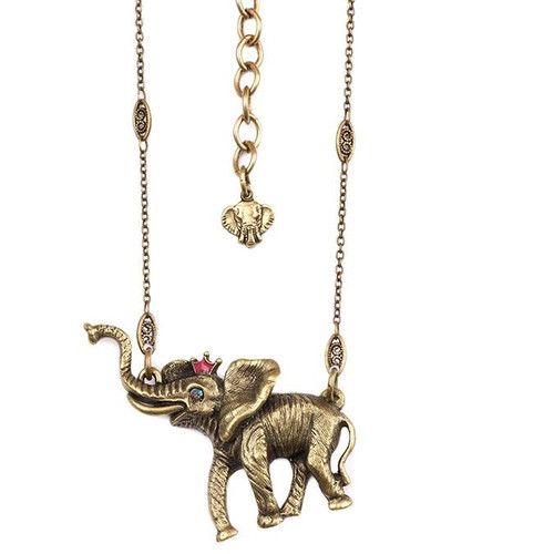 Elephant With Crown Pendant Necklace  | Nature Jewelry