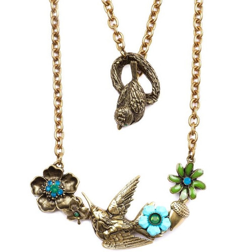 Hummingbird and Floral  Necklace  | Nature Jewelry