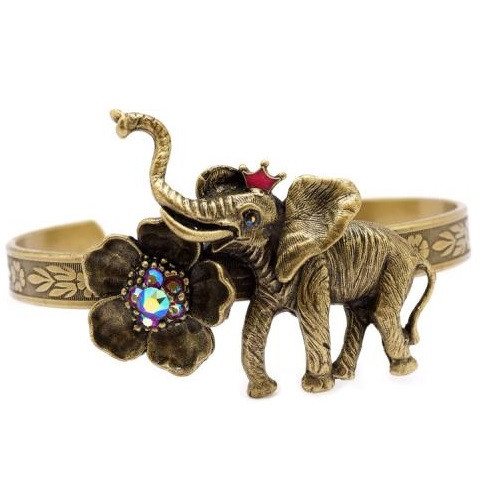 Elephant and Flower Cuff Bracelet  | Nature Jewelry