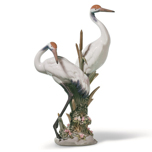 Courting Cranes Porcelain Figurine