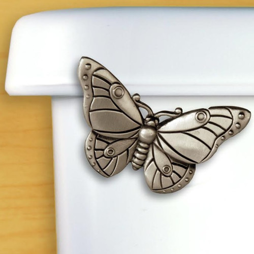 Butterfly Toilet Flush Handle Satin Pewter