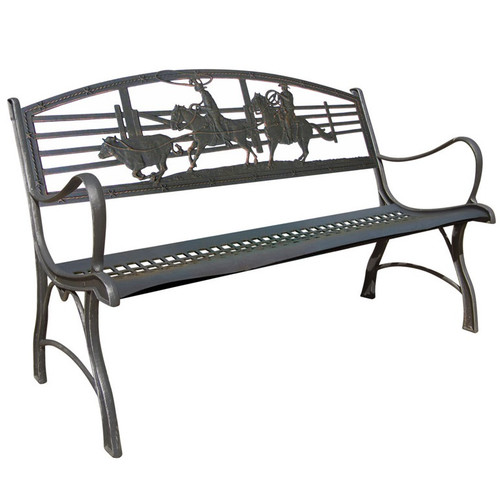 Cowboy Roping Cast Iron Garden Bench