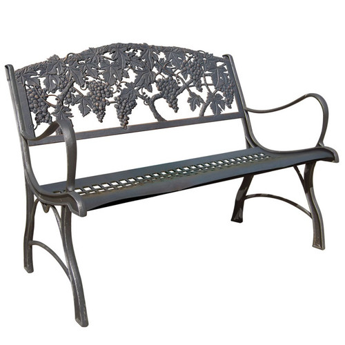 Tulips Bench Loveseat Cast Iron Painted Sky
