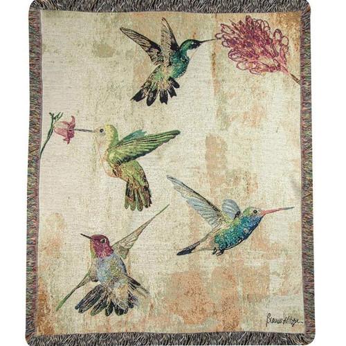 Hummingbird Floral Tapestry Throw Blanket