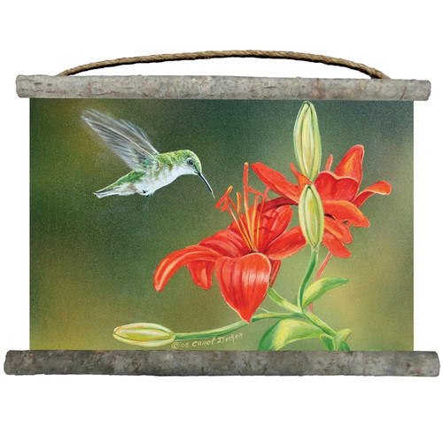 """Hummingbird Canvas Wall Hanging """"Lily Ruby Throat""""   Wood Graphixs   WCLRT2518"""