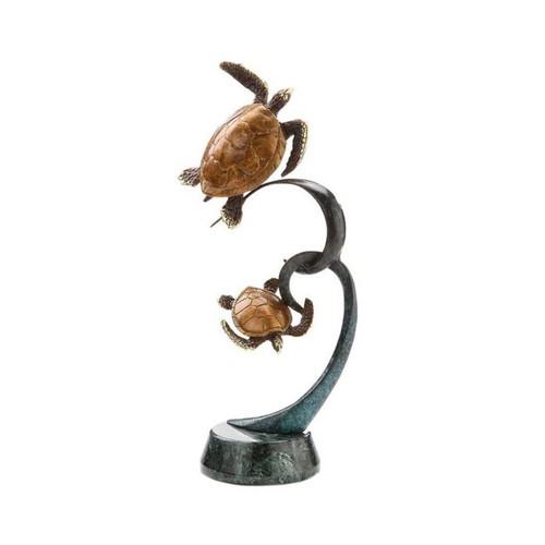 Double Sea Turtle on Ribbon Sculpture   80134