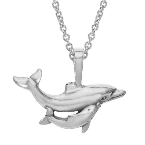 Dolphin and Baby Sterling Silver Pendant Necklace | Nature Jewelry