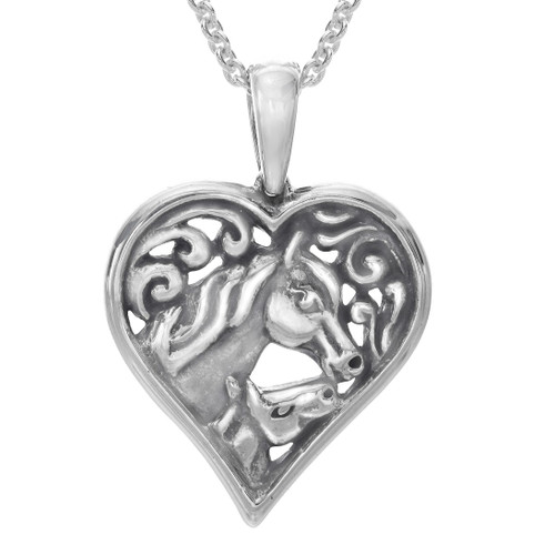Horse Heart Pendant Sterling Silver Necklace | Nature Jewelry