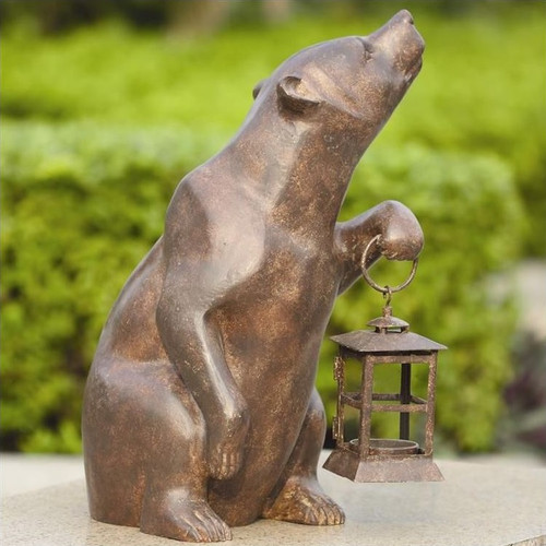 Bear with Lantern Sculpture Candle Holder | 32435