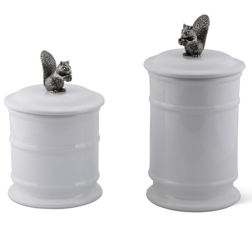 Squirrel Stoneware Canister Set of 2