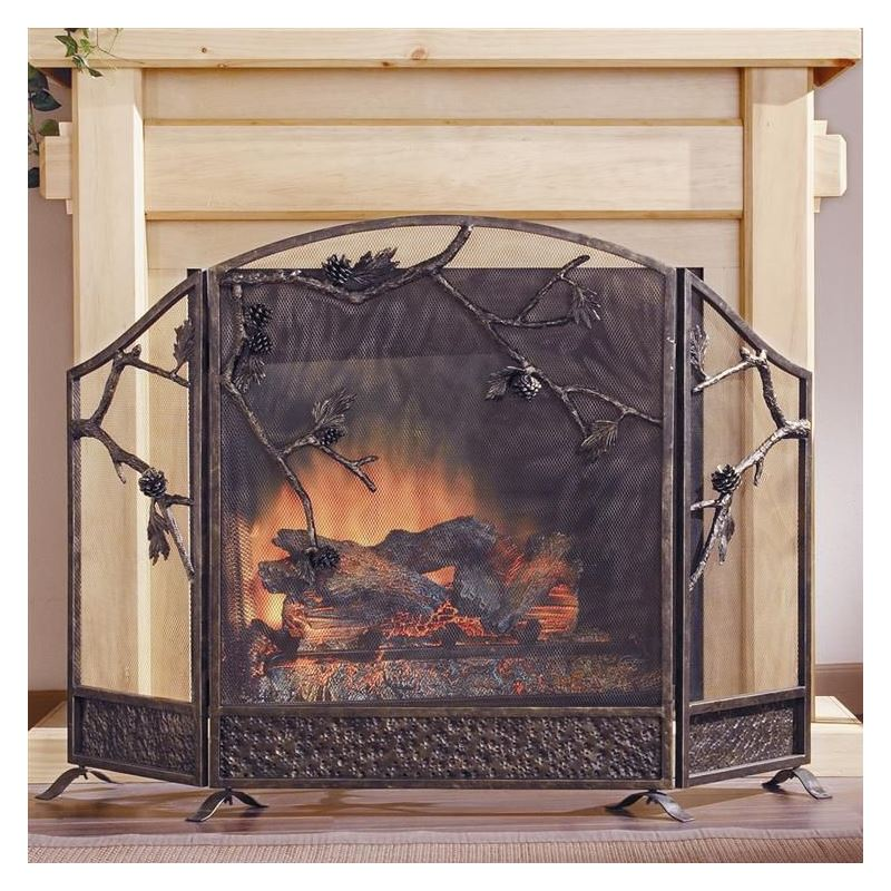 Fireplace Design cast iron fireplace screen : Pinecone Fireplace Screen | Cast Iron | Fireplace Accessories