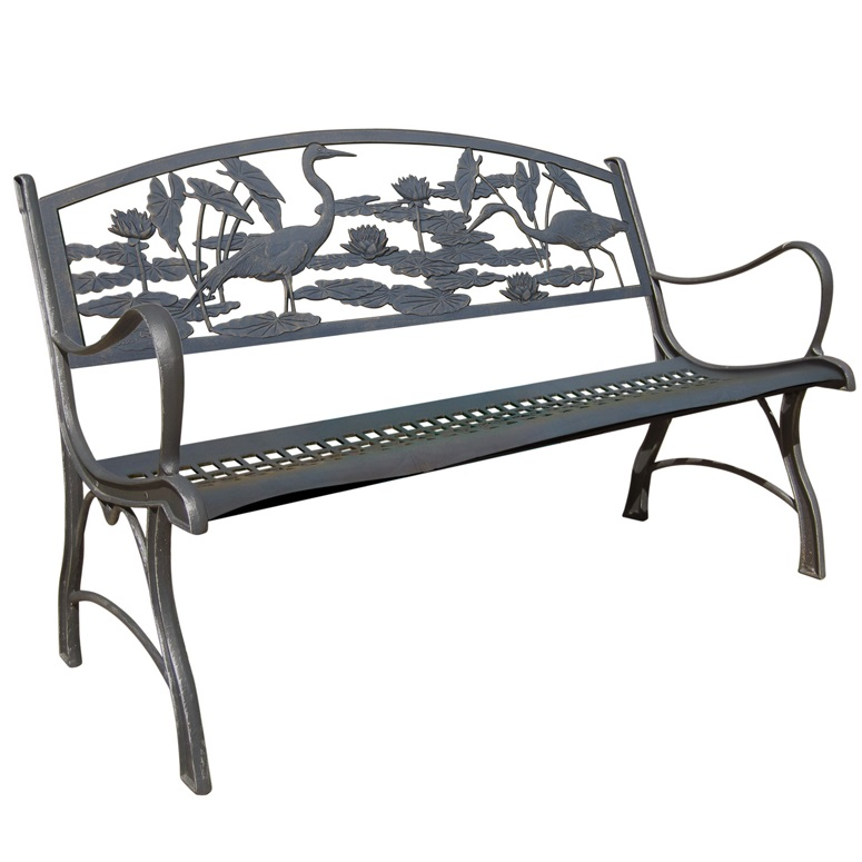 Heron Cast Iron Garden Bench | Painted Sky | PB HER 100BR