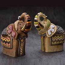Festival Elephant Ceramic Figurine Set | De Rosa | Rinconada | F204B-F204W