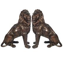 Lion Pair Sitting Bronze Statue   Metropolitan Galleries   SRB705027-1