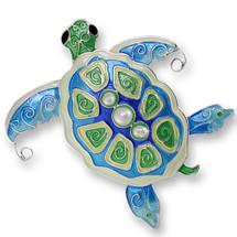 Pearly Sea Turtle Enamel Silver Plated Pin | Zarah Jewelry | 33-02-Z2