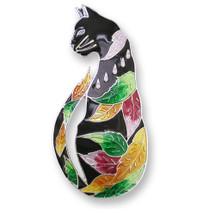 Cat Enameled Silver Plated Pin | Zarah Jewelry | 27-01-Z2