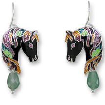 Horse Enameled Wire Earrings   Zarah Jewelry   27-06-Z1