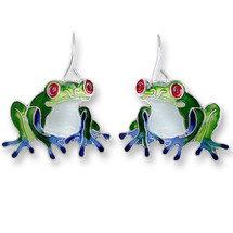 Frog Enameled Wire Earrings | Zarah Jewelry | 29-19-Z1