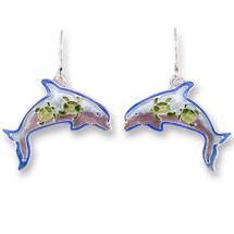 Dolphin Montage Enameled Wire Earrings | Zarah Jewelry | 32-13-Z1