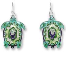 Turtle Montage Enameled Wire Earrings | Zarah Jewelry | 32-14-Z1