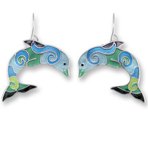 Dolphin Enameled Wire Earrings | Zarah Jewelry | 32-20-Z1