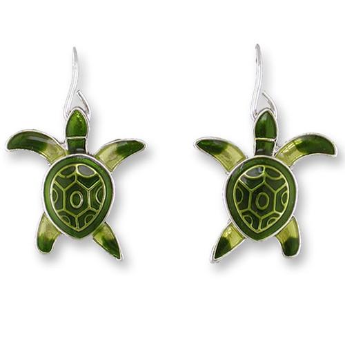Sea Turtle Hatchling Enameled Wire Earrings | Zarah Jewelry | 13-01-Z1