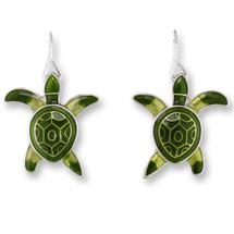 Sea Turtle Hatchling Enameled Wire Earrings   Zarah Jewelry   13-01-Z1