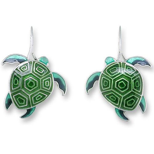 Sea Turtle Enameled Hawaiian Honu Wire Earrings   Zarah Jewelry   32-19-Z1