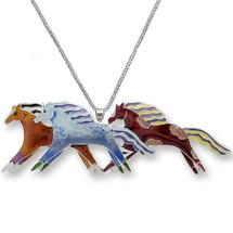 Mustangs Enameled Silver Plated Necklace | Zarah Jewelry | 11-01-Z2P