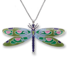 Dragonfly Montage Silver Plated Necklace | Zarah Jewelry | 32-15-Z2P