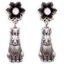 Flower and Bunny Dangle Earrings | La Contessa Jewelry | Mary DeMarco | ER9541