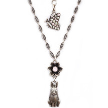 Bunny and Flower Pendant Necklace | La Contessa Jewelry | Mary DeMarco | NK9541