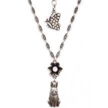 Bunny and Flower Pendant Necklace | La Contessa Jewelry | Mary DeMarco | NK9541PK