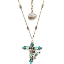 Mermaid Cross Necklace | Nature Jewelry | NK9513BG